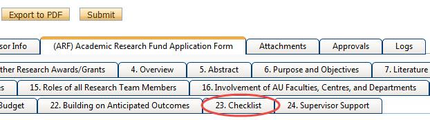 Internal Funding Checklist Button