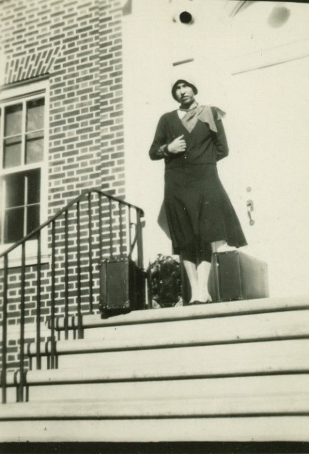 Helen S. Petersen Bentley on her first day of university at Iowa State College, 1930.