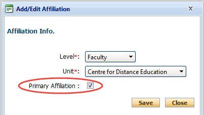 Add/Edit Affiliation Drop Down