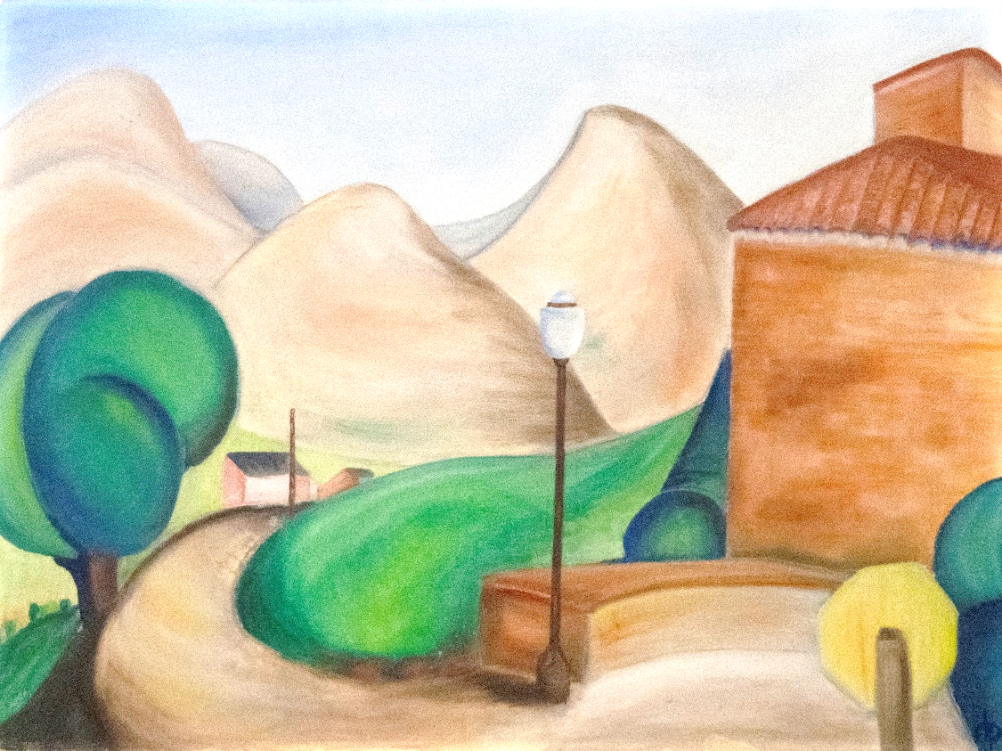 An untitled oil painting on board made by Helen, 1937.