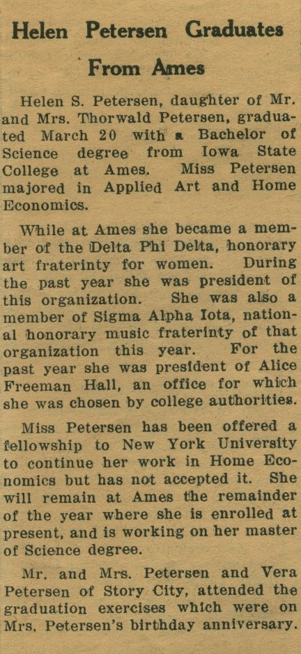 A newspaper article announcing Helen's graduation from Ames, 1936.
