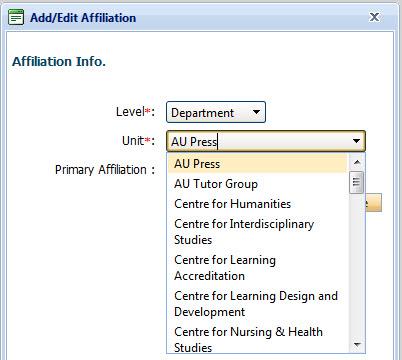 Add/Edit Affilation Drop down