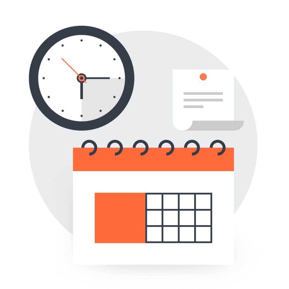 Calendar, clock and note