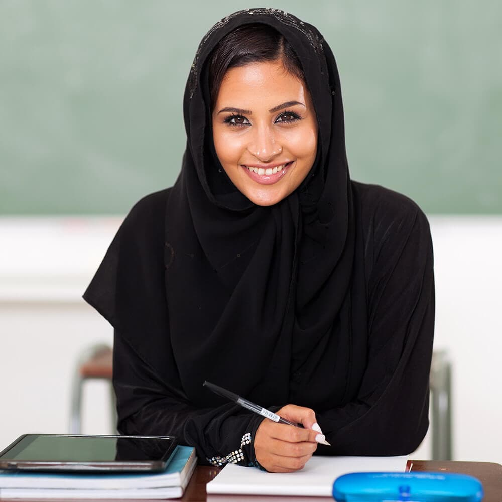 Muslim woman studying